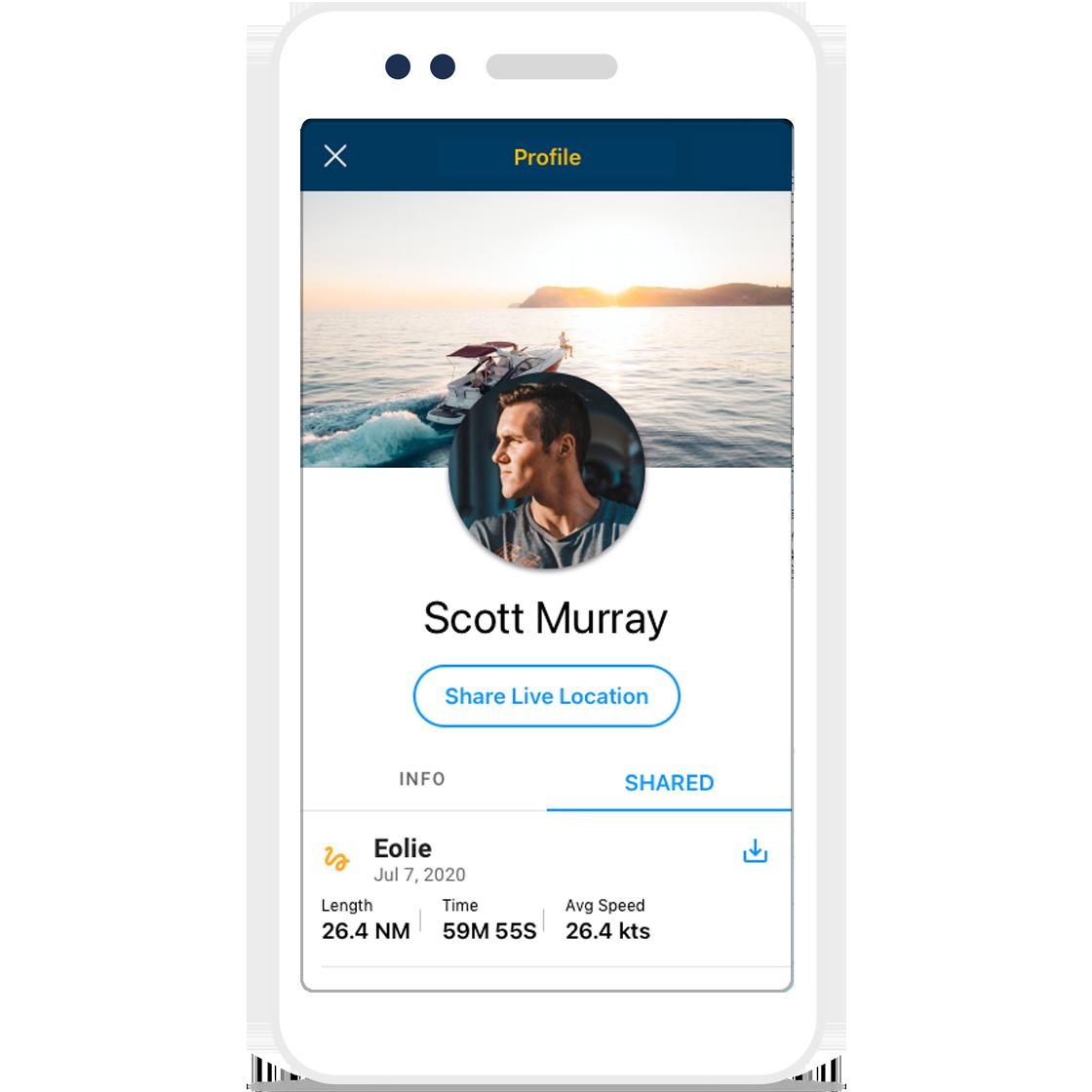 Navionics Boating App partage les itinéraires